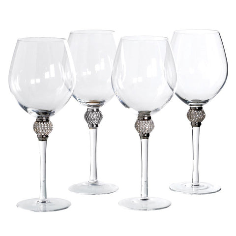 These silver crystal ball wine glasses create stylish tableware that serves as a foundation for effortless and elegant entertaining.   Hand wash only.