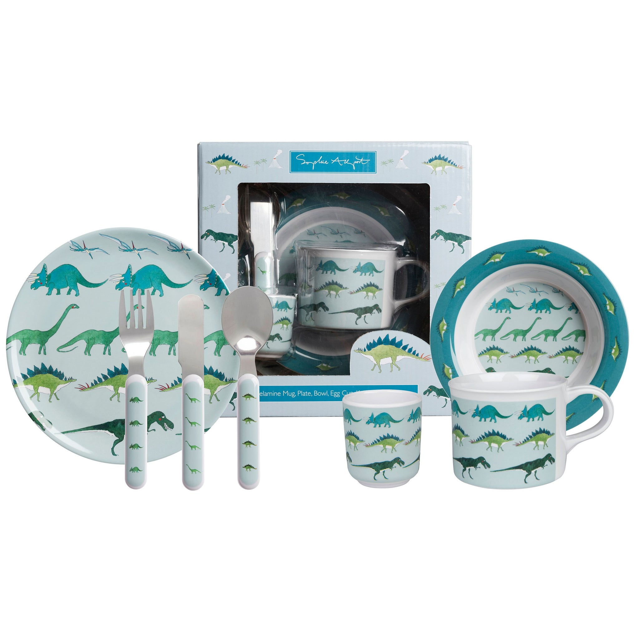 This Dinosaur themed seven piece dining set includes a plate, bowl, cup, knife, fork, spoon and egg cup. A lovely little gift set for children's birthdays and christenings.  The sage blue Dinosaur design features the Diplodocus, Stegosaurus, Triceratops, flying Pterodactyls and the famous T-Rex!  100% melamine plate, cup, bowl and egg cup Set includes: plate, bowl, cup, egg cup, knife, fork and spoon Comes in a smart gift box (21cm x 21cm) Cutlery handles are plastic, metal is stainless steel Dishwasher saf