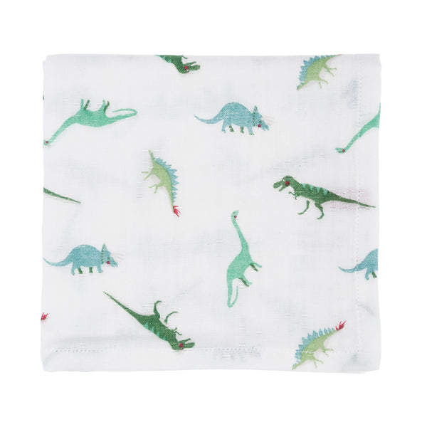 This pair of white Dinosaur muslins are made from soft cotton, making them ideal for wiping your baby's face after feeding along with protecting clothing from dribbles.  100% cotton Set of 2 muslins Machine wash at 40 degrees Gift wrapped in white ribbon Approx. 70cm x 70cm