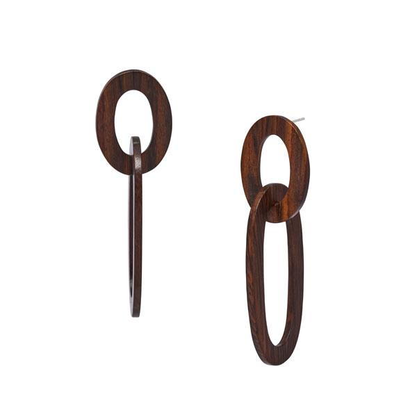 DOUBLE OVAL LINK EARRING – ROSEWOOD
