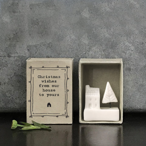 A lovely little porcelain keepsake whose matchbox container says 'Christmas wishes from our house to yours'.  Size 4.5 x 3.4 x 2cm