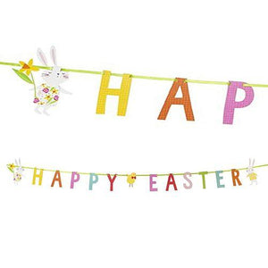 Celebrate spring with this beautifully bright 'Hop to it' Happy Easter bunting style letter banner. A wonderfully vibrant and eye-catching decoration for your Easter events. This banner reads 'Happy Easter' in brightly coloured, bold lettering, complete with adorable white bunny rabbits and a yellow, bow-tie wearing chick! A perfect decoration for your party, simply hang the banner from the ceiling, walls or string across the entrance to your venue or in a window to greet your guests and spread seasonal che