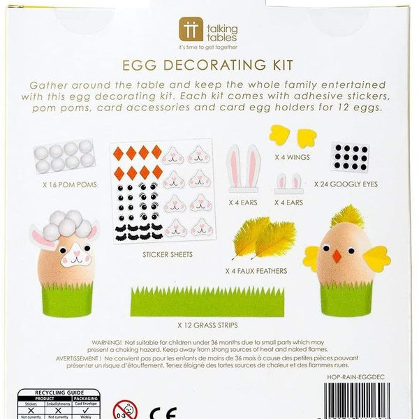 Eggs aren't just for eating, they're for decorating too! Gather around the table to decorate your own eggs with this Egg Decorating Kit by Talking Tables.  Each kit comes with adhesive stickers, pom poms, card accessories and card egg holders for twelve eggs.  Eggs not included. Not suitable for children under 3 years of age due to small parts.