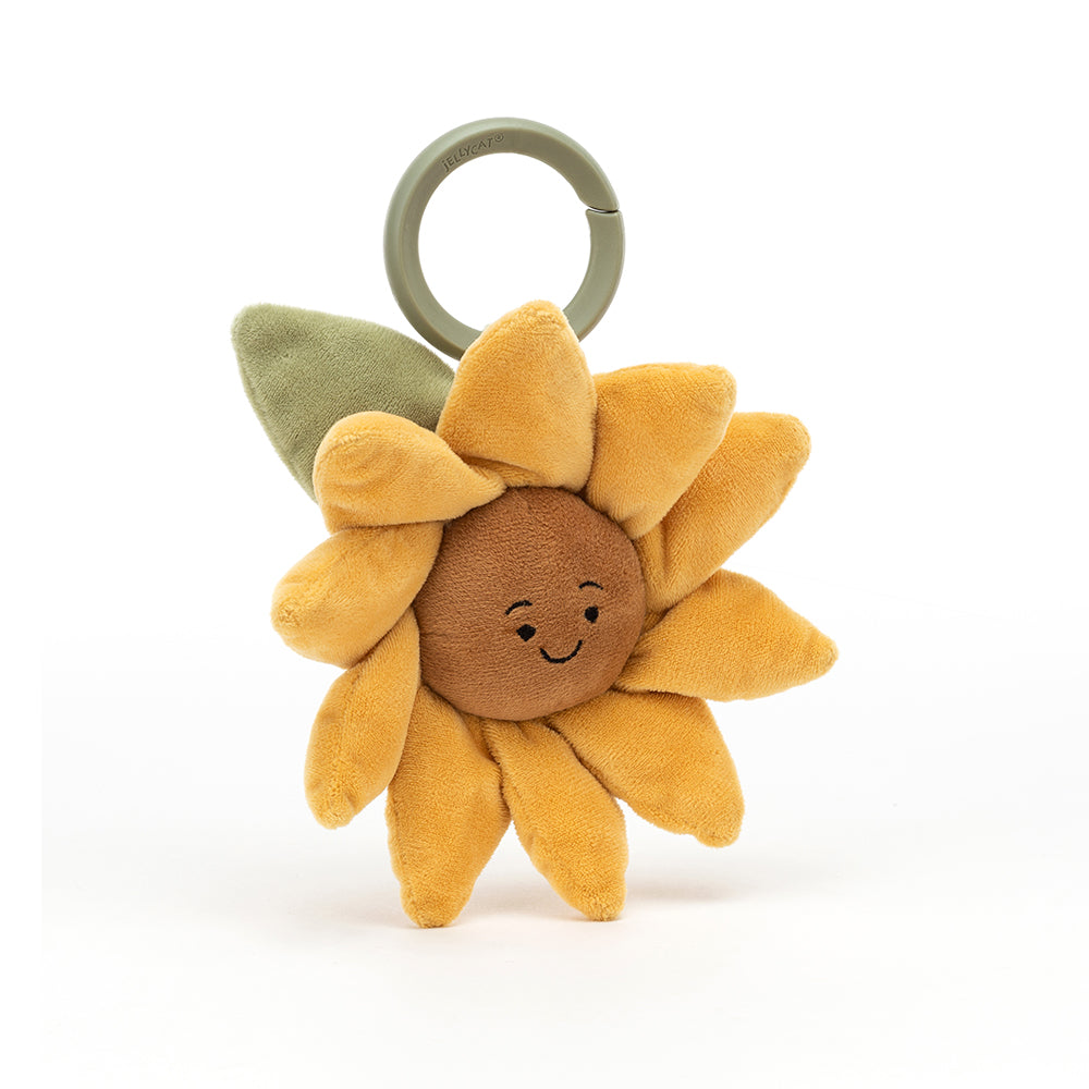 Gorgeously golden with chubby mocha cheeks, it's Fleury Sunflower Jitter! This sassy sunflower has a splendid mane of cuddly yellow petals. Little ones can tug and release to see this silly dance in the breeze! Clip on, grab on, boogie on!