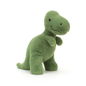 Fossilly T-Rex loves rambling about, making big prints with those chunky feet! With soft green fur instead of scales, a squishable snoot and a long, squidgy tail, this smiley dino has teeny arms but gives Cretaceous cuddles! 28cmx14cm