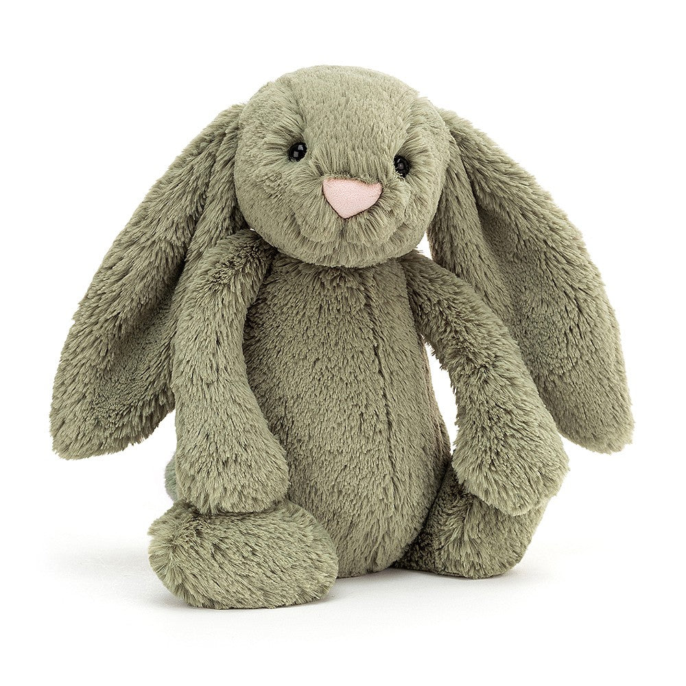 Shy and sweet, Bashful Fern Bunny likes to hide in the pretty green moss. This sage-soft silly has flopsy fern ears and perfect pipkin paws. A gentle friend who loves dozing, dreaming, and hippity-hopping around the garden!  Tested to and passes the European Safety Standard for toys: EN71 parts 1, 2 & 3, for all ages. Suitable from birth. Hand wash only; do not tumble dry, dry clean or iron. Not recommended to clean in a washing machine.