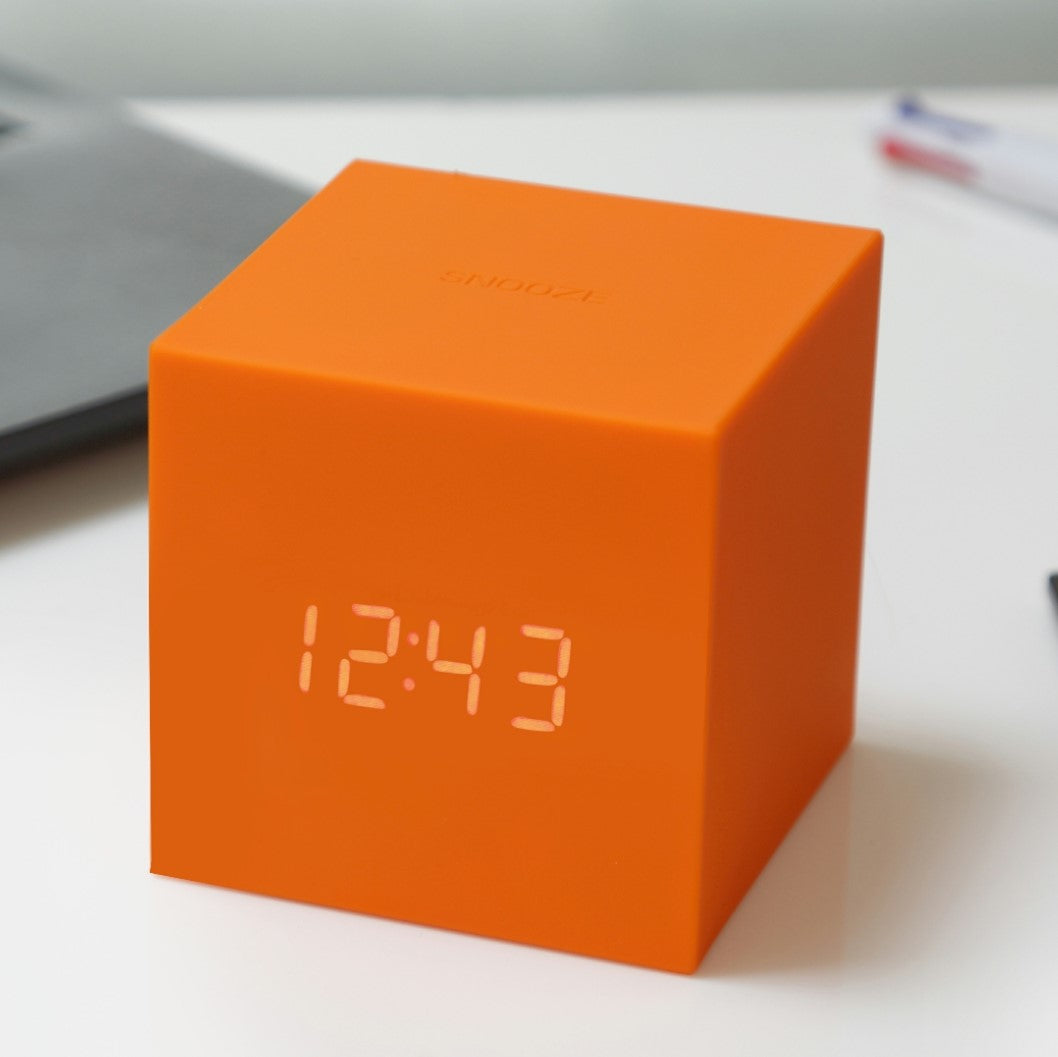 Housed in a bright colourful and sleek rubberised cube and designed with the ingenious touch sensitive snooze and flip-over alarm, the colourful Gravity Cube Click Clock collection can make your every minute in bed matter.   – classical cube design in bright colours  – touch control snooze and flip it over to any side to stop the alarm  – display time, date, temperature alternatively or time display only  – sound activated LED display or permanently stays on setting  – best for kids bedroom while a mobile p