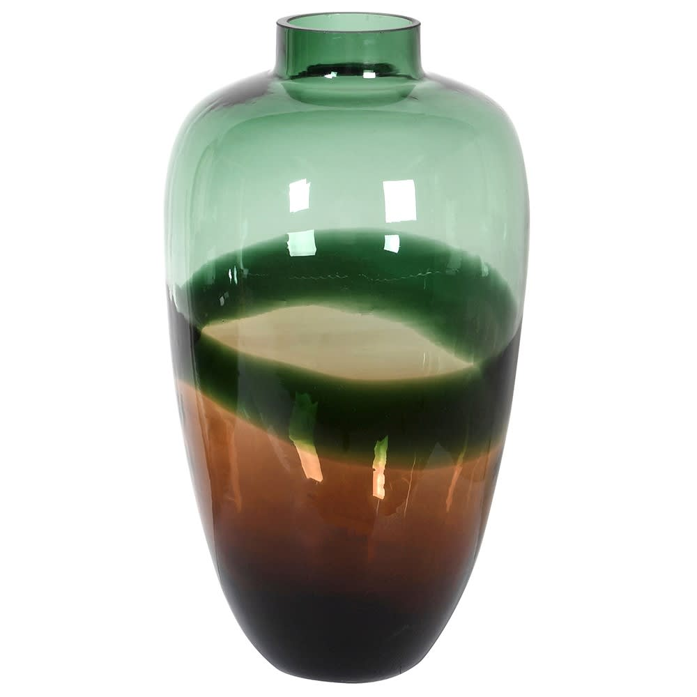 A larger version of our smaller green & black vase. Perfect for larger displays of flowers or just stood on its own on a window sill to let the light show off the beautiful colours.  Dimensions: H:400 Dia:180 mm