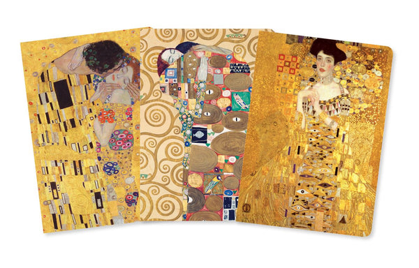 A set of three pocket-sized, foiled and ruled notebooks, each with a different cover - The Kiss, Fulfillment, and Adele Bloch-Bauer I. With sturdy covers and rounded corners, they are perfect to be carried everywhere. Dimensions: 145x90mm