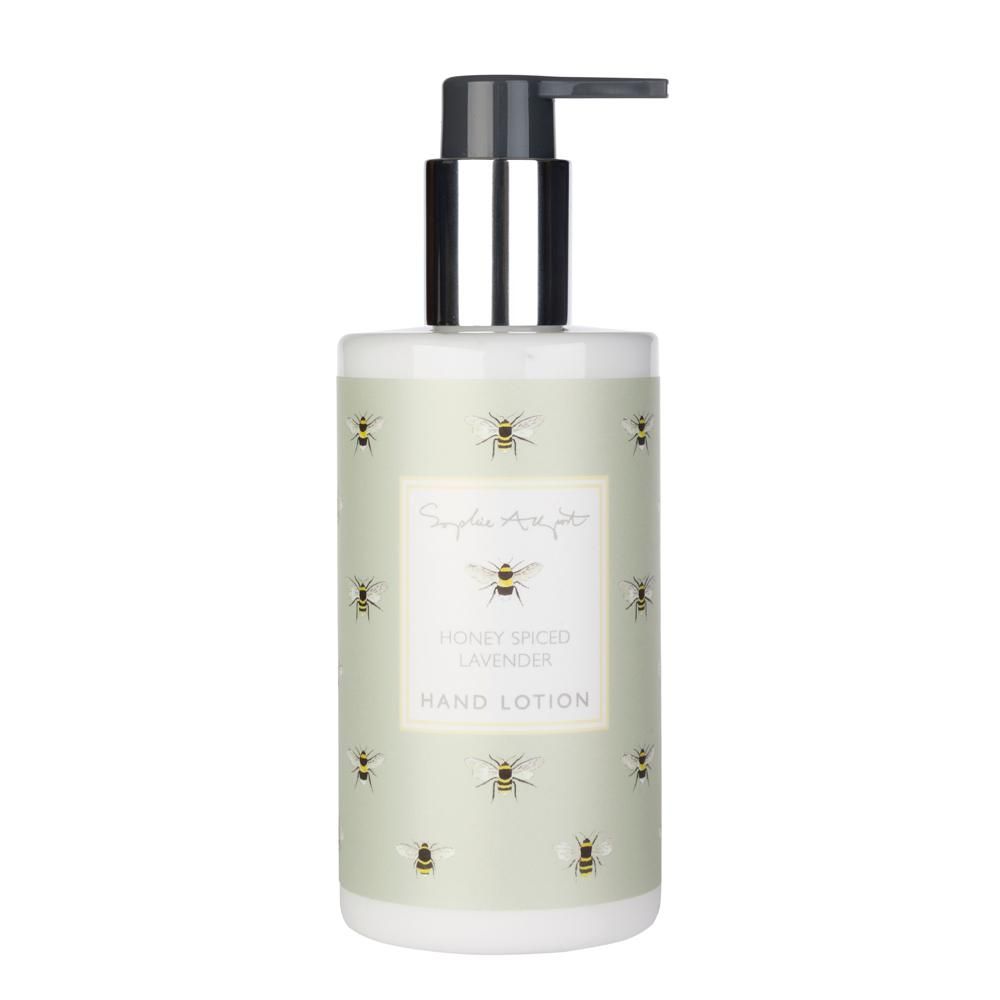 Nourishing and delicately scented, our hand lotion has been specially formulated in the UK to soothe and moisturise. The unique scent blends aromatic lavender flowers with sumptuous honey and golden spices, layered atop a creamy vanilla musk base.  250ml  Honey Spiced Lavender fragrance A sleek bottle featuring Sophie's Bees design Infused with rich shea butter Not tested on animals Free from animal-based or derived ingredients Matching hand soap bar available