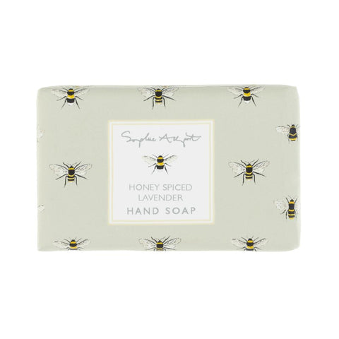 Perfect for everyday use, our hand soap has been specially formulated in the UK to be gentle on skin and delicately fragrant. Our unique scent blends aromatic lavender flowers with sumptuous honey and golden spices, layered atop a creamy vanilla musk base.   100g bar Honey Spiced Lavender fragrance Wrapped in paper featuring Sophie's Bees design Matching hand lotion available