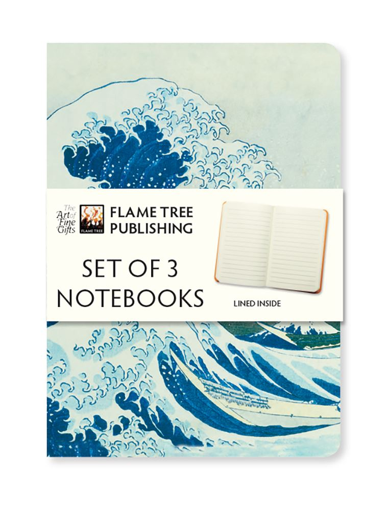 A set of three pocket-sized, foiled and ruled notebooks, each with a different cover - The Great Wave, Plum Garden, and Sea at Satta. With sturdy covers and rounded corners, they are perfect to be carried everywhere. Dimensions: 145x90mm