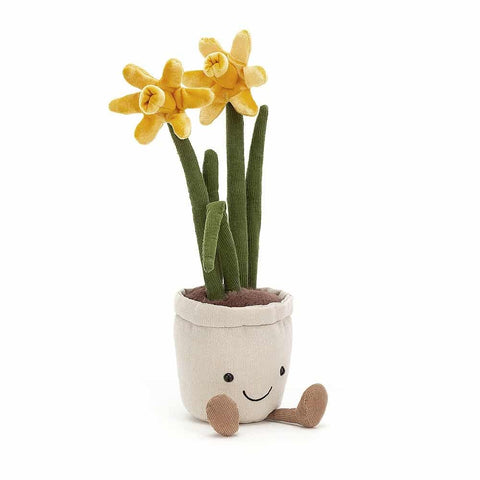 Introducing 'Amuseable Daffodil' by Jellycat.  Coming with muted yellow flowers, corduroy-style green leaves, brown furry soil look-a-like, little beige corduroy-style legs, a neutral fabric plant pot supporting a lovely smiley face, really cute and perfect for any garden lovers!