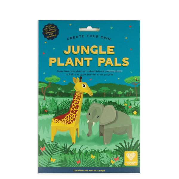 Make two cute animal friends in this super duper cress growing kit.     Have fun making these plant pot pals. Two cute characters to make: a tall and gentle giraffe and a happy elephant. Easy to make and fun to grow.     No glue or scissors needed   Contents: 6x card pieces, 1 x sachet of cress seeds, 2x plastic trays, 2x blotting paper sheets, 1x instruction sheet    Made from FSC certified recycled card   Age 5+