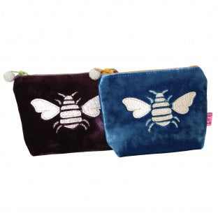 A lovely little velvet purse which comes in three colours with a beautiful gold bee embroidered on the front. Perfect for change, lipstick or other small items. Size 9cm x W 11cm