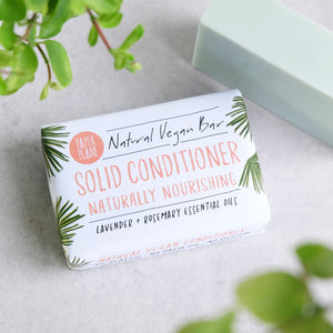 A plastic-free, vegan alternative to bottles of conditioner - and the natural ingredients are great for your hair.  For great looking and great smelling hair - our Lavender and Rosemary Solid Conditioner is easy to use, long-lasting and better for the planet (and your hair) than traditional bottled conditioners.  With no damaging silicone, no animal products, no plastic and no palm oil, this is a purchase you can feel proud of.  To use, simply warm the bar in warm water, or warm hands, to melt - think of it