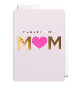 Gold embossed text Neon heart Blank inside White envelope enclosed H 15.5cm x W 11cm Send a stylish thank you with this 'Marvellous Mum' Mother's Day card, featuring gold embossed text and neon pink heart. This card is left blank inside for your own personal message and comes with a white envelope.