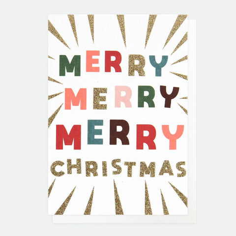 This pack of 10 mini Christmas cards features the words 'MERRY MERRY MERRY CHRISTMAS', in bright bold lettering and a showering of eco glitter. These fun and festive cards with luxury finishes are packaged in our environmentally friendly bags made of recycled bottles, that have replaced the cellophane this year!  Dimensions: 123mm x 83mm Pack of 10 cards with 10 white envelopes Message inside - 'merry christmas and a happy new year'  Made from low chlorine pulp board from sustainable forests and can be recy