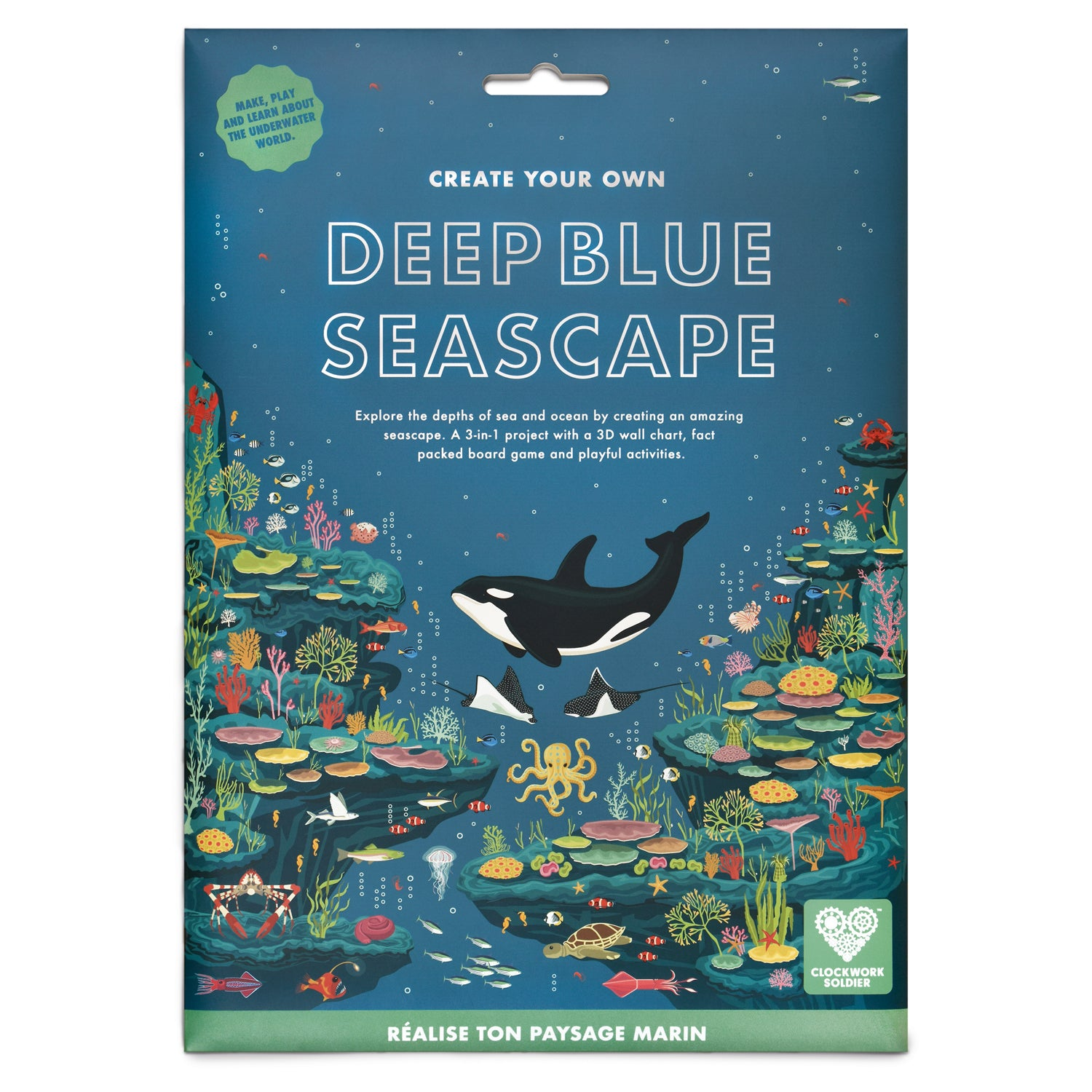 Explore the depths of the ocean by creating an amazing seascape. A 3-in-1 project with a 3D wall chart, fact packed board game and playful activities.  Take a trip down through an underwater world. Journey deep to the bottom of the ocean and discover the fascinating creatures and colourful plants that live in the deep - from the tiny shrimp to big blue whale!  On one side, a beautifully illustrated seascape showing some of the amazing creatures that live in the ocean. On the other side is an amazing, fact p