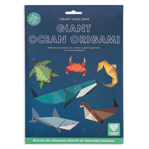 Make your own super-sized sea creatures in this fun origami set.  Including easy-to-follow instructions and lots of ocean facts, six giant origami marine friends are just a few folds away. Swim with a giant blue whale, great white shark and gentle turtle. Make friends with a cute seahorse, friendly sea lion and snappy crab!  Each origami sheet is pre-printed and use the easy to follow instruction booklet inside to help you fold each creature into shape.