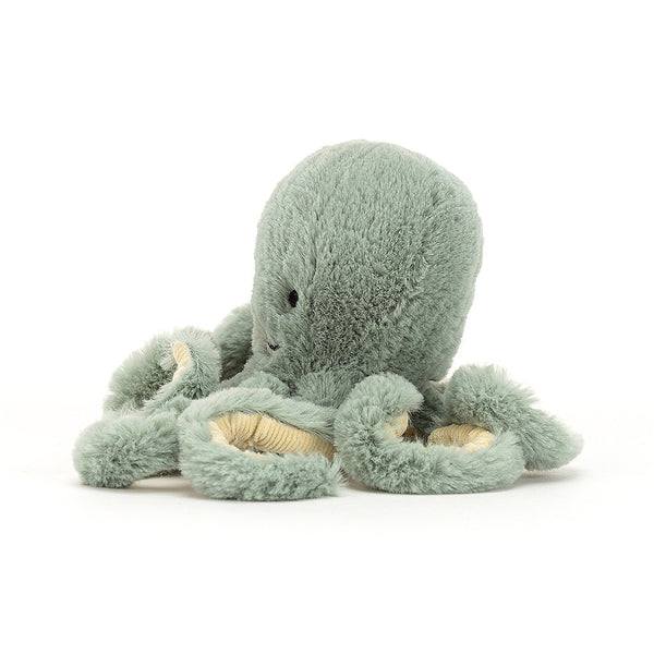 Dive to the depths for high adventure with wonderful Odyssey Octopus! Squishably soft in sea-moss green, with eight super-squiggly springy arms, Odyssey loves to give cordy cuddles. A splendid friend for any merfolk!  Size H23 x W11cm