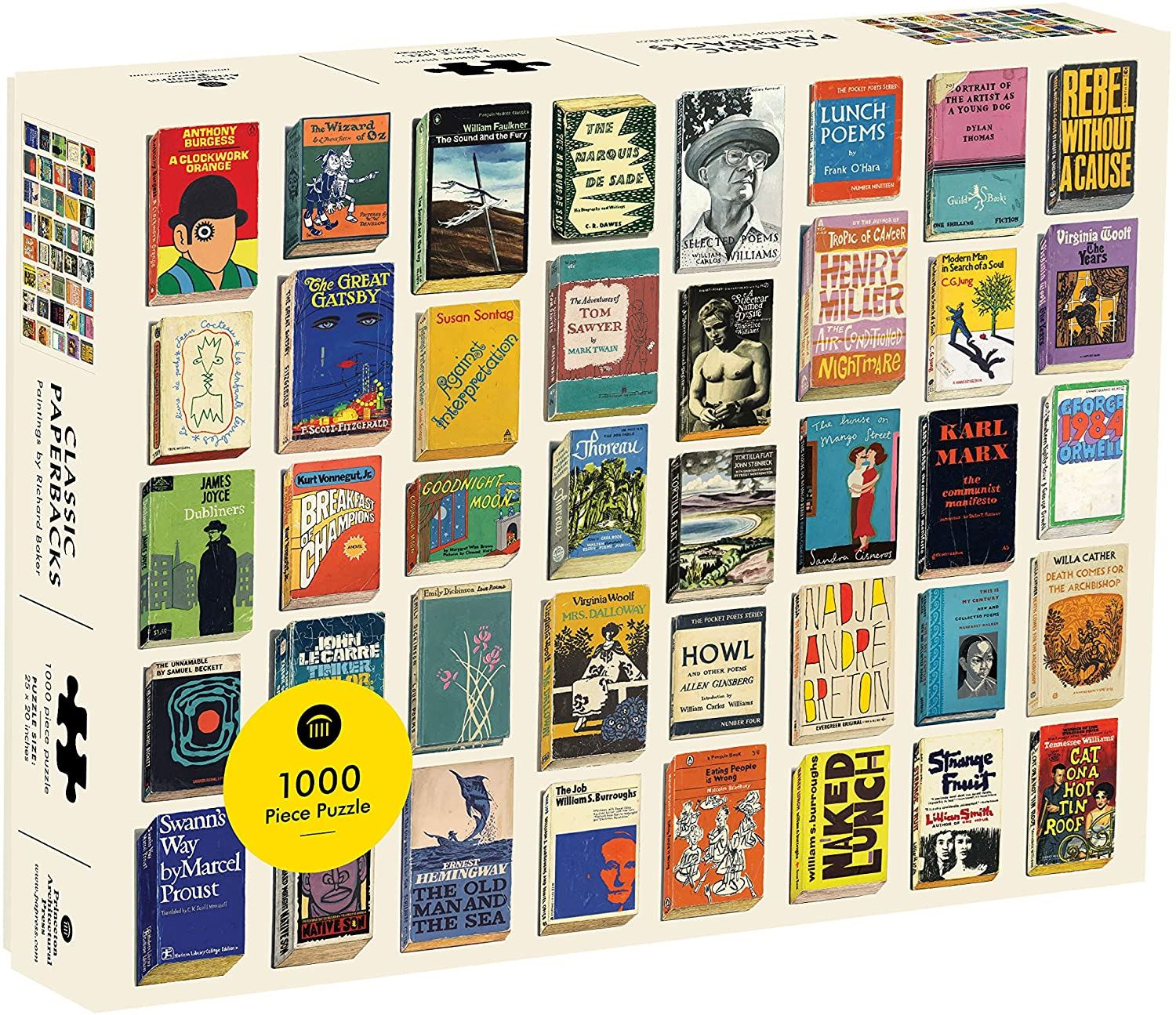 1000-piece puzzle featuring Richard Baker's paintings of paperback editions from the 1960s and '70s, which faithfully portray not only the cover's original details, but also signs of its passage through time. Baker's fascination with the design of everyday items from the recent past is here applied to every true bibliophile's delight.
