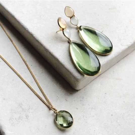 The Perrin are beautiful statement earrings. Extremely elegant and feminine. They are formed from three different colour Chalcedony stones, the main one being a beautiful large green hydro.   The metal is 22 carat gold on sterling silver.   Earring measures 5.5 cm top to bottom.   All earrings are hypoallergenic.