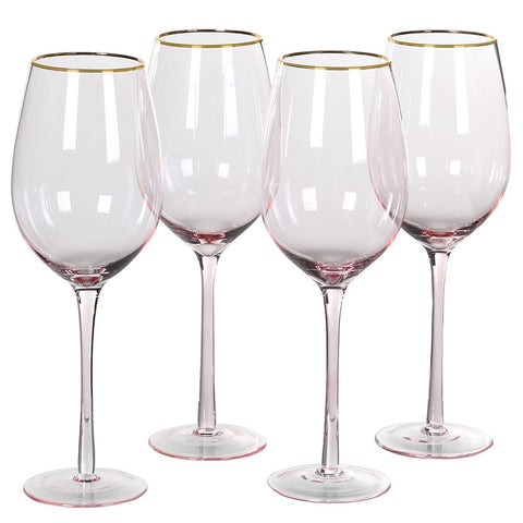 Four elegant wine glasses to complement our champagne flutes. Perfect for any occasion! Recommend hand wash only.