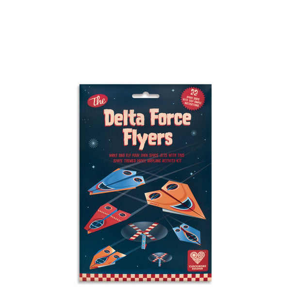 A create your own paper spacecraft kit which includes a fun activity booklet. Make and fold 20 delta flyers with 5 different designs and see how far you can fly them!