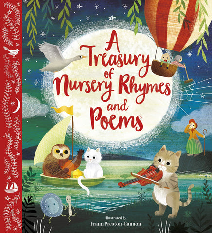 In this captivating collection, you'll meet favourite friends Humpty Dumpty, the Owl and the Pussy-cat and Little Miss Muffet, as well as mermaids, elves and a whole host of animals at a magical fair. Discover games for playtime, songs for supper time and star-filled lullabies for bedtime. This rich anthology will delight the whole family and is the perfect birthday, Christmas or christening gift. 101 nursery rhymes, poems and songs, illustrated by Frann Preston-Gannon. Cloth-bound edition with foiled jacke
