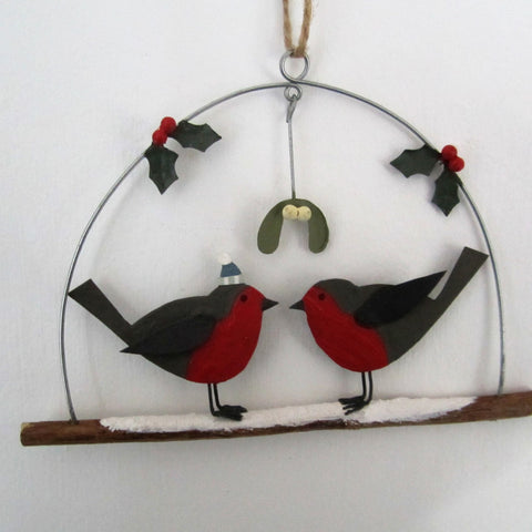 Robins Under Mistletoe Stick Christmas Decoration Size - W15cmxH10cm