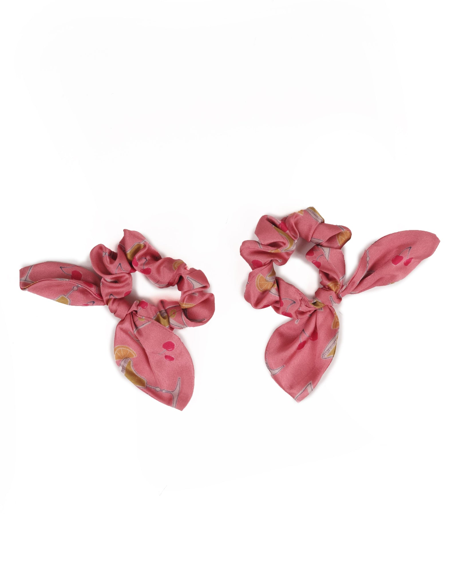 Everyone loves a scrunchie! These satin sweeties come in packs of two so you can style them loads of different ways or wear them on your wrist for those urgent hair up moments. These Cocktails Scrunchies are kitch and quirky in every way! Delivered in the cutest, teeny tiny, limited edition Powder gift bag.  Measurement: one size Fabric: 100% polyster