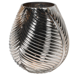 A beautiful gold glass vase with ribbed details repeated on each side. Perfect for smaller bouquets. Size: H:200 Dia:160 mm.