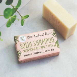 A handmade, 100% natural, vegan solid shampoo bar, made from castor oil - a natural hair and scalp conditioner.  When combined with coconut oil and olive oil, you get this moisturising and nourishing luxury shampoo bar.  Add to that, the essential oils of lavender and geranium, which not only smell amazing, but also have calming and stress-relieving qualities.  This vegan bar will last as long as three regular bottles of shampoo, which saves you money and cuts down on plastic waste.  Its handy size means it