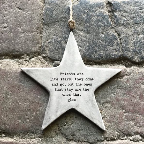 From East of India, the star comes with a string attached, so it can be hung on the wall or a door, allowing its sweet and inspiring message to be read by all. The words on this decoration read 'Friends are like stars they come and go, but the ones that stay are the ones that glow'.  Size: 9 x 9 x 0.4cm