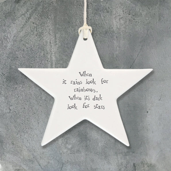 From East of India, the star comes with a string attached, so it can be hung on the wall or a door, allowing its sweet and inspiring message to be read by all. The words on this decoration read 'When it rains look for rainbows, when it's dark look for stars'. Size: 9.4 x 9.4 x 0.5cm
