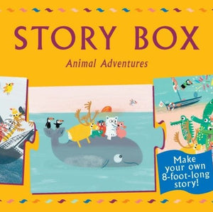 A polar bear sets sail for the Caribbean and meets animal pals along the way. But can you stop evil pirates from ramming the bear's boat? And how will the group reach the tortoise's birthday party while there's a tornado brewing? The latest Story Box game contains 20 story-telling puzzle pieces printed on both sides, allowing for all kinds of plot twists and turns, and three different endings so a different story can be told each time it is played.