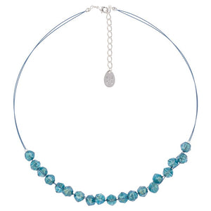 Teal Faceted Double Strand Necklace