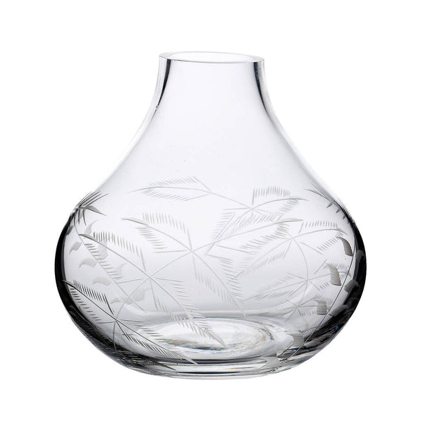 Decorated with fine engraved ferns.  Each vase has been hand-blown and hand-decorated.  Our vases are made from fine crystal.  All glassware is dishwasher safe.  Dimensions: 11.2 cm tall; 11 cm at widest point; capacity: 480 ml.