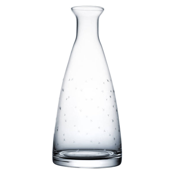 A versatile table carafe, for water or wine.  Hand-blown and hand-decorated.  Our table carafes are made from lead-free crystal.  All of our glassware is dishwasher safe.  Dimensions: 23.8cm tall; 10.4cm wide at base. Capacity: 850 ml