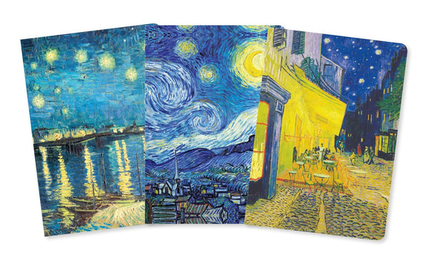 A set of three pocket-sized, foiled and ruled notebooks, each with a different cover - Starry Night over the Rhone, Starry Night, and Cafe Terrace. With sturdy covers and rounded corners, they are perfect to be carried everywhere.