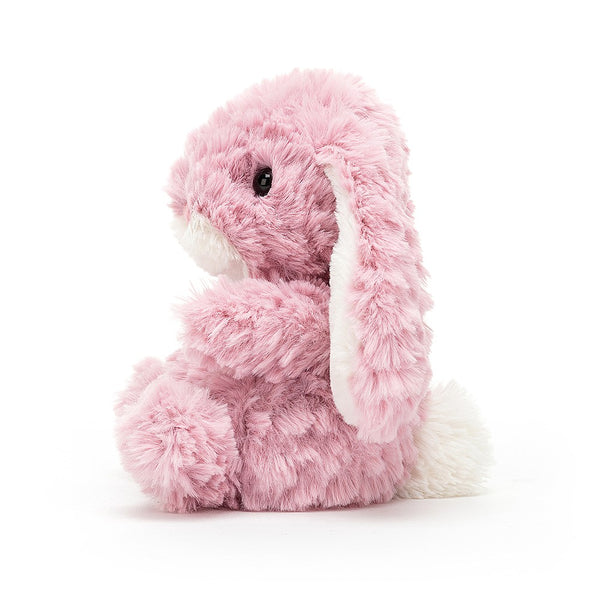 Yummy Bunny Tulip Pink has terrifically tumbly two-tone fur. A bold little blossom in warm pink and white, with a little bobtail and a cuddly tum, this bunny's as bonny and soft as a petal. A precious pal for little paws.
