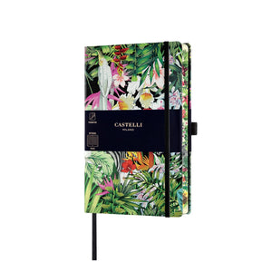 The Eden notebook from Castelli, inspired by nature and paradise, animals of rare beauty feature, hidden within distinctive and colourful foliage.  Available in ruled indexed page format on beautiful ivory coloured pages. Notations are easy to locate with the combination of page numbering and index pages.