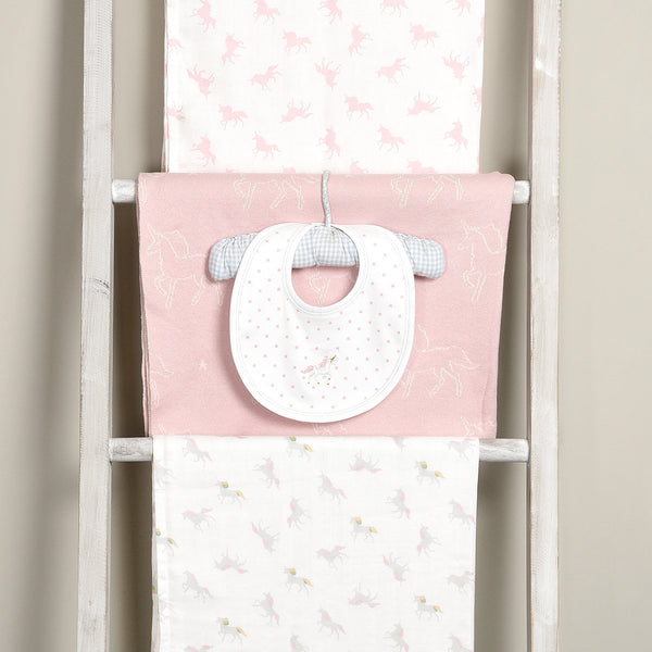 The ideal gift for a baby shower, this set of two soft unicorn print muslins are 100% cotton and are wrapped in white ribbon with tiny gold stars.  100% cotton Set of 2 muslins Machine wash at 40 degrees Gift wrapped in white ribbon Approx. 70cm x 70cm