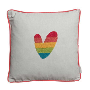 Multicoloured Hearts Embroidered Cushion