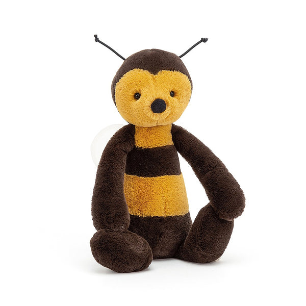 If you like to plant flowers, Bashful Bee has a few requests! He loves lilac, honeysuckle and poppies - perfect for making heavenly honey! This beautiful bug is a real dapper chap. We think his gold and black fur is bee-yootiful, and his squooshy black nose Size H31cmxW12cm