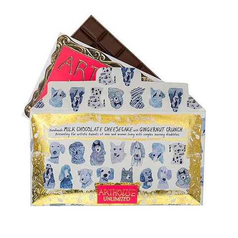 Handcrafted in the UK by a specialist chocolatier, this chocolate is an indulgent treat for the taste buds. This milk chocolate features artwork created by a collaboration of ARTHOUSE Unlimited artists.  The Blue Dogs design are a deceptively simple series of beautiful drawings made solely in blue pencil. The perfect compliment to this delicious combination of milk chocolate, cheesecake and ginger crunch. A true delight for the tastebuds!  Minimum weight 100g 7.5cm (w) x 16cm (h) Ingredients: sugar, cocoa b