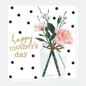 Caroline Gardner Happy Mother's Day Card Card is blank inside for your own message Cards are approximately 146mm x 140mm Includes Envelope  Tell your wonderful Mum how great she is with this pretty Happy Mother's Day Card from Caroline Gardner. Featuring gold embossed writing alongside a bouquet of flowers all on a polka dot background.
