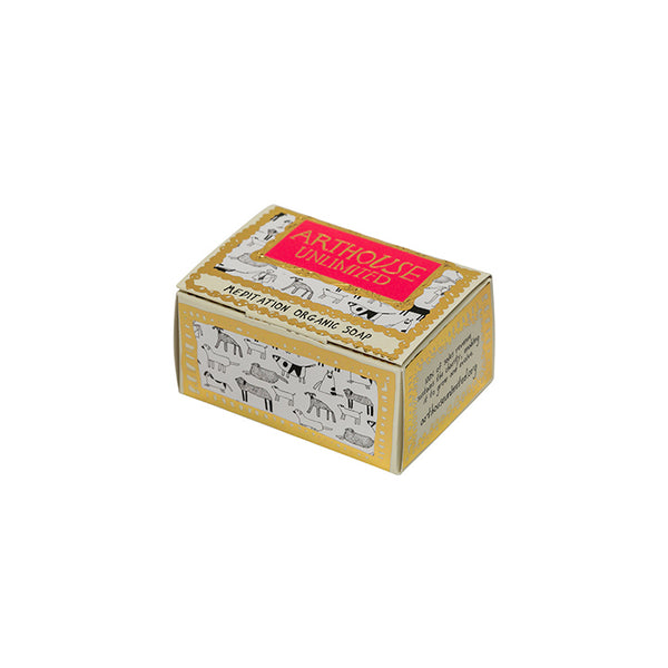 Margaret Mace's distinctive dog illustrations provide a unique finish to this carefully composed, meditative fragrance. This soap is presented in a beautiful gold embellished recyclable box.