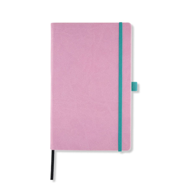 Aquarela notebooks from Castelli, popular colours guaranteed to charm on a smooth and tactile material with contrasting elastic band.  Available in ruled indexed page format on beautiful ivory coloured pages. Notations are easy to locate with the combination of page numbering and index pages.  Aquarela notebooks feature ribbon marker, elasticated closure band and pen loop detailing. The high quality features continue with black card front end papers and a document pocket in the back.